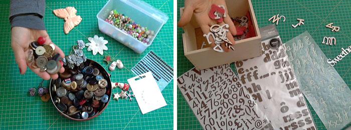 abbellimenti scrap perline alfabeti strass