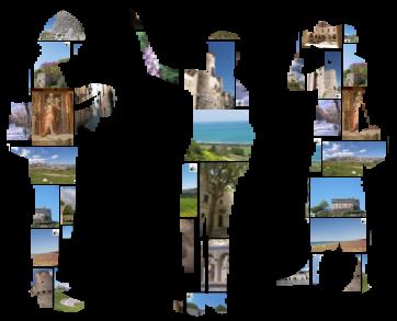 sagome di persone con paesaggi  vari