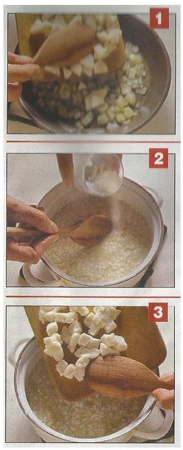 fasi preparazione risotto pere e taleggio