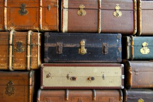 old, suitcases, stack, leather, retro, travel