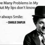 foto di charlie chaplin con la sua massima preferita in inglese